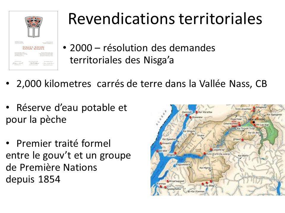 Revendications territoriales 2000 – résolution des demandes territoriales des Nisgaa 2,000 kilometres carrés de terre dans la Vallée Nass, CB Réserve