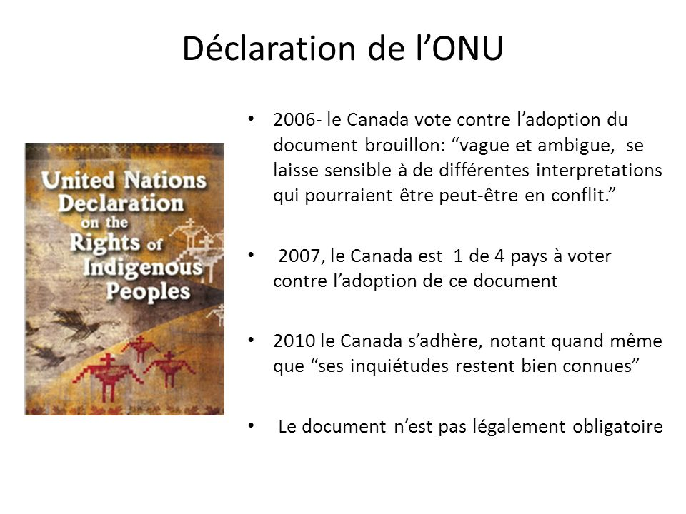 Déclaration de lONU 2006- le Canada vote contre ladoption du document brouillon: vague et ambigue, se laisse sensible à de différentes interpretations