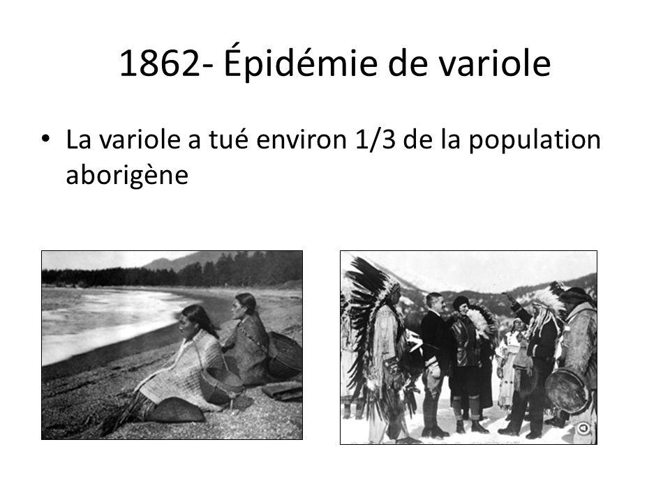 1862- Épidémie de variole La variole a tué environ 1/3 de la population aborigène