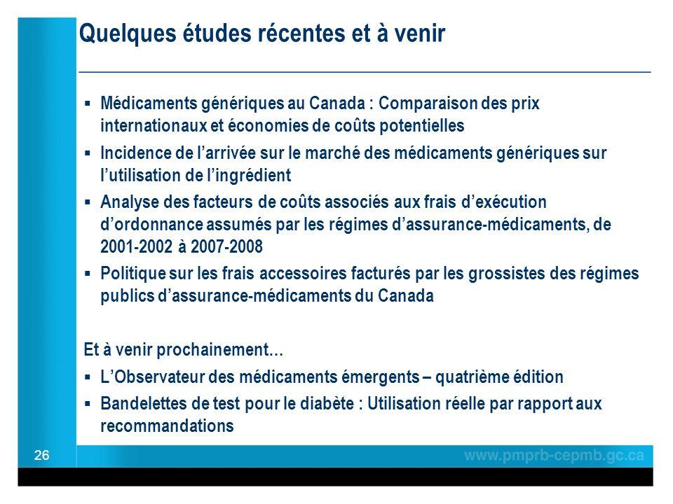 Médicaments génériques au Canada : Comparaison des prix internationaux et économies de coûts potentielles Incidence de larrivée sur le marché des médi