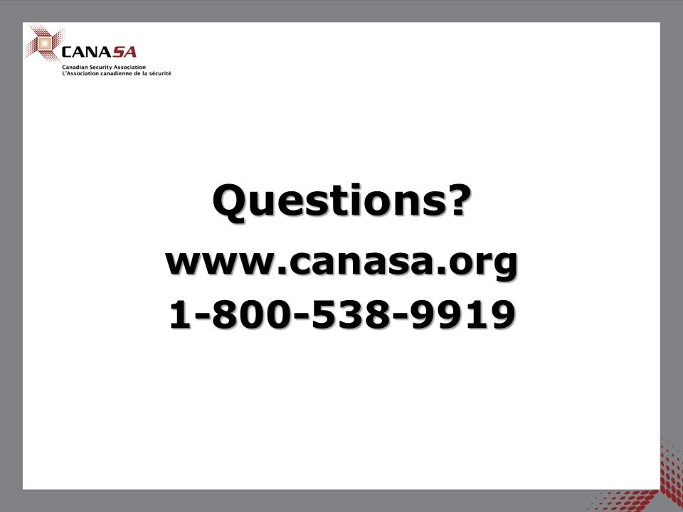 Questions?www.canasa.org1-800-538-9919