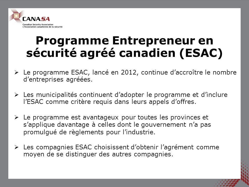 Programme Entrepreneur en sécurité agréé canadien (ESAC) Le programme ESAC, lancé en 2012, continue daccroître le nombre dentreprises agréées. Les mun