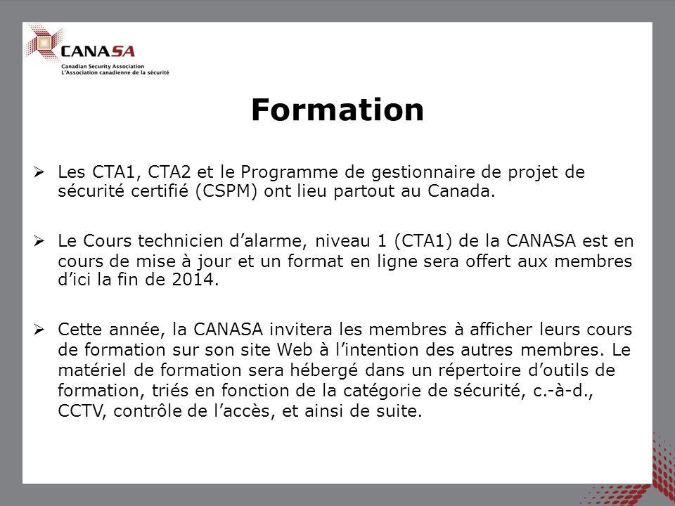 Les CTA1, CTA2 et le Programme de gestionnaire de projet de sécurité certifié (CSPM) ont lieu partout au Canada. Le Cours technicien dalarme, niveau 1