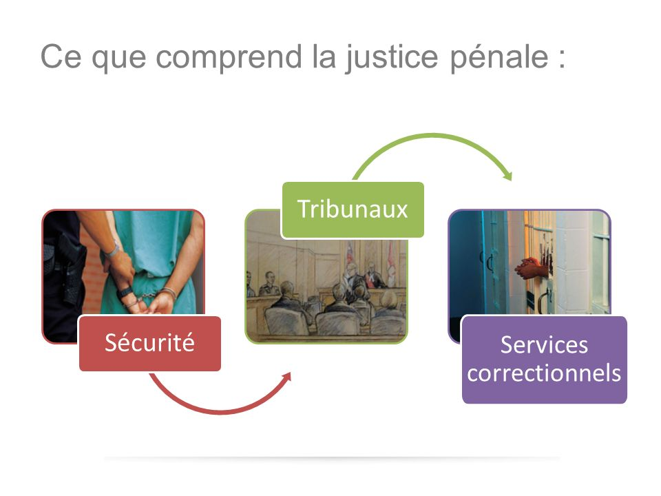 Ce que comprend la justice pénale : Sécurité Tribunaux Services correctionnels