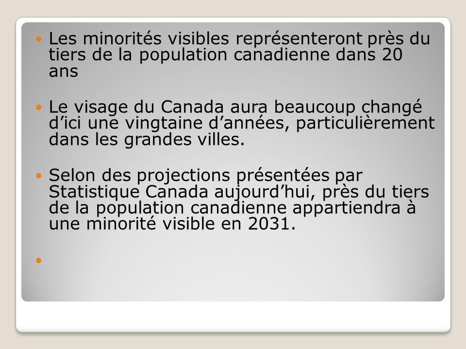 Les minorités visibles représenteront près du tiers de la population canadienne dans 20 ans Le visage du Canada aura beaucoup changé dici une vingtaine dannées, particulièrement dans les grandes villes.