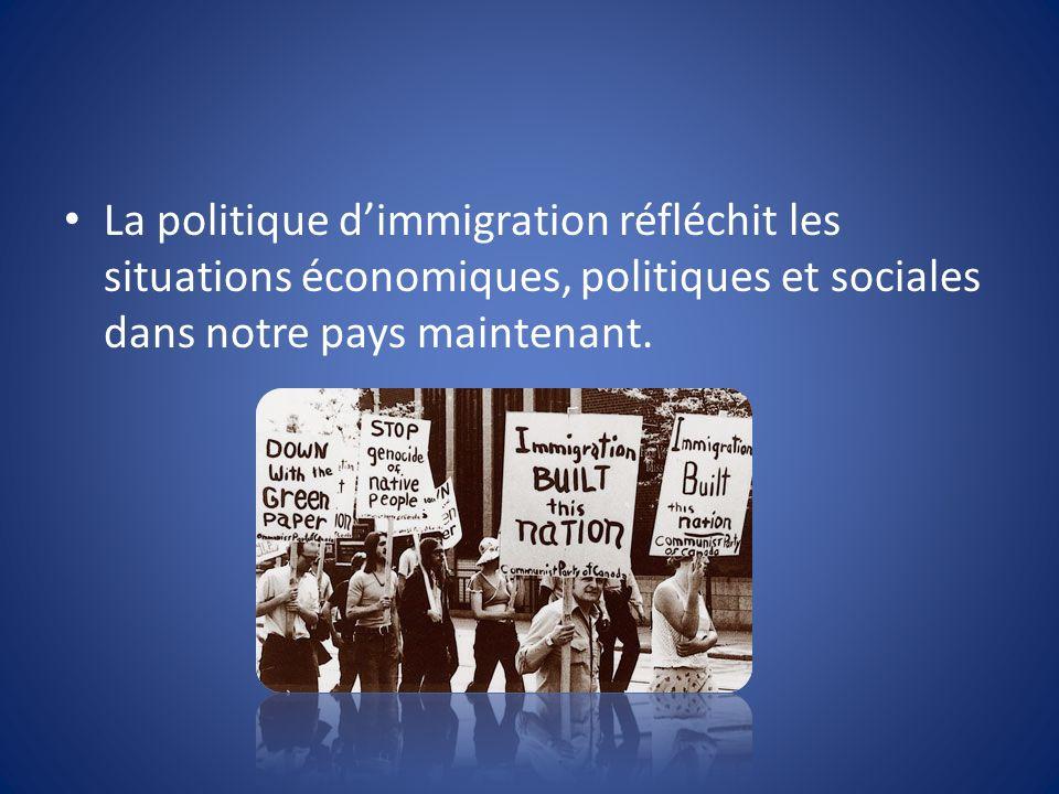 La politique dimmigration réfléchit les situations économiques, politiques et sociales dans notre pays maintenant.