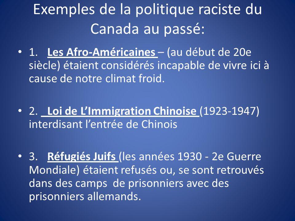Exemples de la politique raciste du Canada au passé: 1.