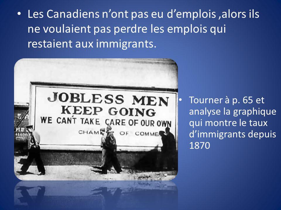 Les Canadiens nont pas eu demplois,alors ils ne voulaient pas perdre les emplois qui restaient aux immigrants.