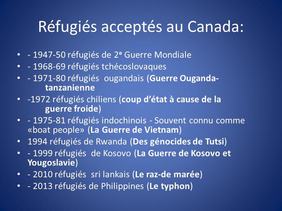 Réfugiés acceptés au Canada: - 1947-50 réfugiés de 2 e Guerre Mondiale - 1968-69 réfugiés tchécoslovaques - 1971-80 réfugiés ougandais (Guerre Ouganda- tanzanienne -1972 réfugiés chiliens (coup détat à cause de la guerre froide) - 1975-81 réfugiés indochinois - Souvent connu comme «boat people» (La Guerre de Vietnam) 1994 réfugiés de Rwanda (Des génocides de Tutsi) - 1999 réfugiés de Kosovo (La Guerre de Kosovo et Yougoslavie) - 2010 réfugiés sri lankais (Le raz-de marée) - 2013 réfugiés de Philippines (Le typhon)