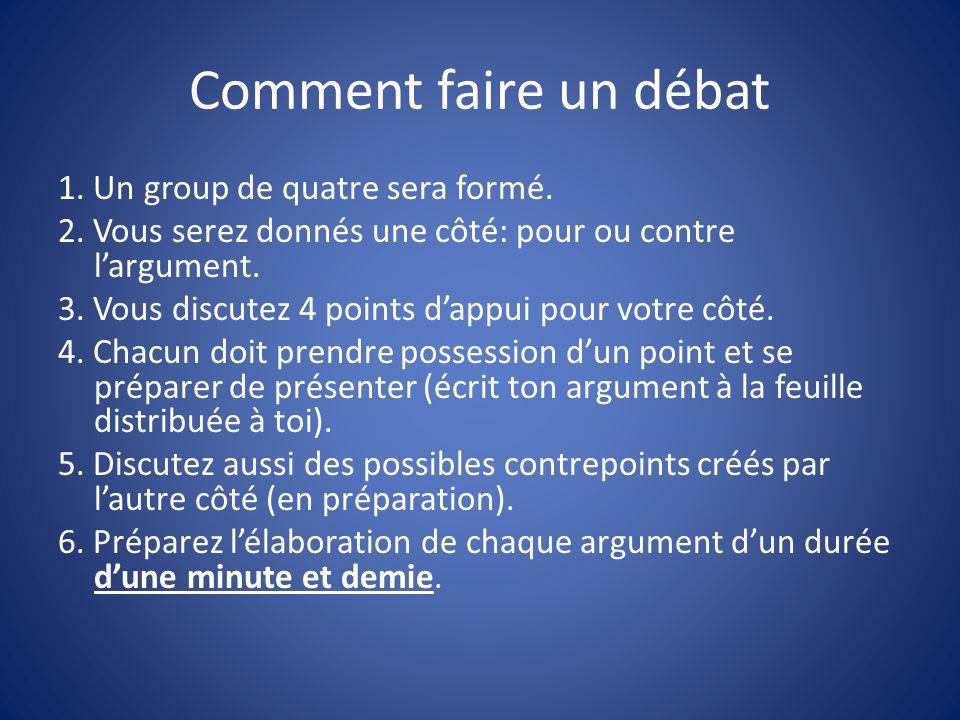 Comment faire un débat 1. Un group de quatre sera formé.