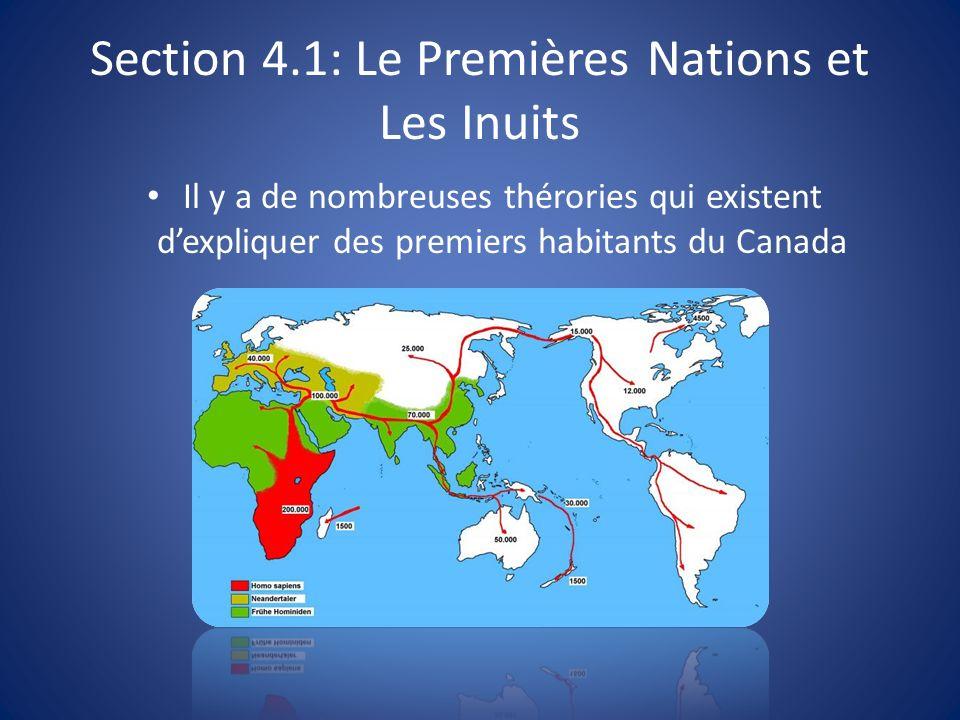 Section 4.1: Le Premières Nations et Les Inuits Il y a de nombreuses thérories qui existent dexpliquer des premiers habitants du Canada
