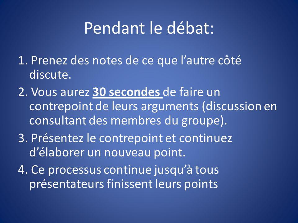 Pendant le débat: 1. Prenez des notes de ce que lautre côté discute.