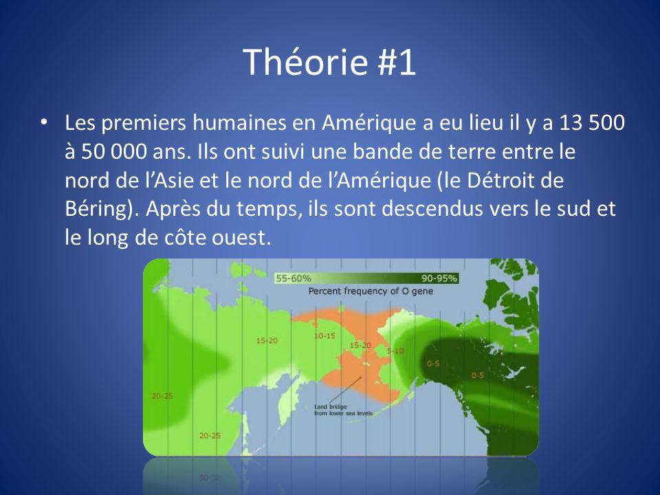 Théorie #1 Les premiers humaines en Amérique a eu lieu il y a 13 500 à 50 000 ans.
