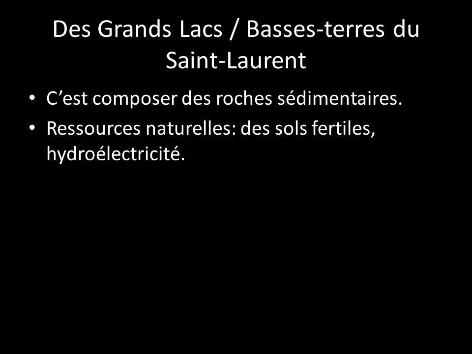 Cest composer des roches sédimentaires. Ressources naturelles: des sols fertiles, hydroélectricité.
