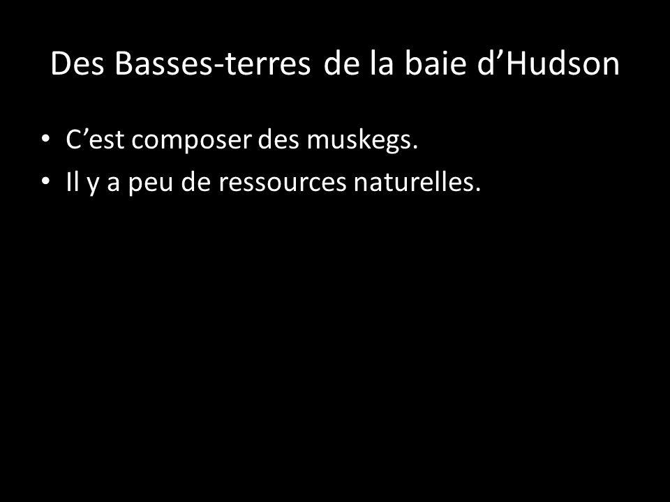 Cest composer des muskegs. Il y a peu de ressources naturelles.