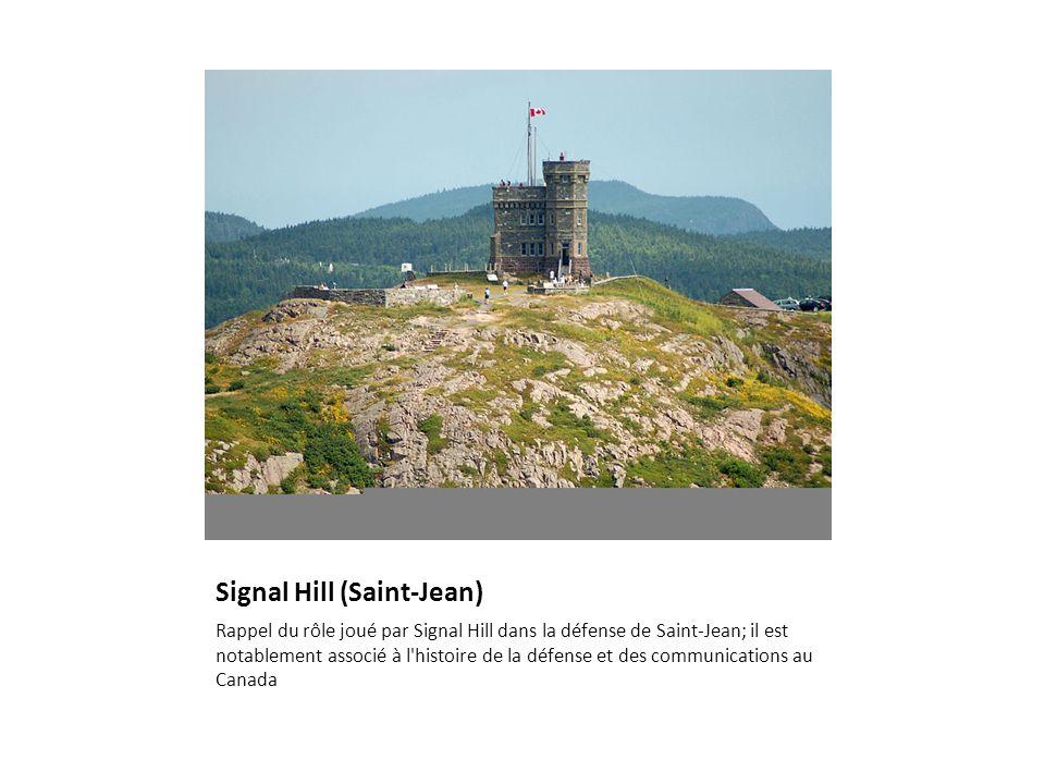 Signal Hill (Saint-Jean) Rappel du rôle joué par Signal Hill dans la défense de Saint-Jean; il est notablement associé à l'histoire de la défense et d