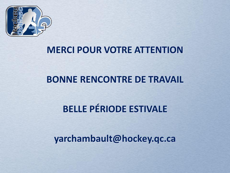 MERCI POUR VOTRE ATTENTION BONNE RENCONTRE DE TRAVAIL BELLE PÉRIODE ESTIVALE yarchambault@hockey.qc.ca