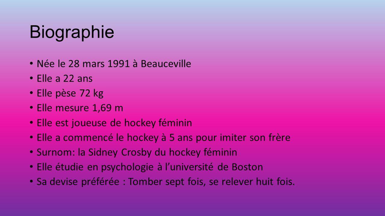 Biographie Née le 28 mars 1991 à Beauceville Elle a 22 ans Elle pèse 72 kg Elle mesure 1,69 m Elle est joueuse de hockey féminin Elle a commencé le ho