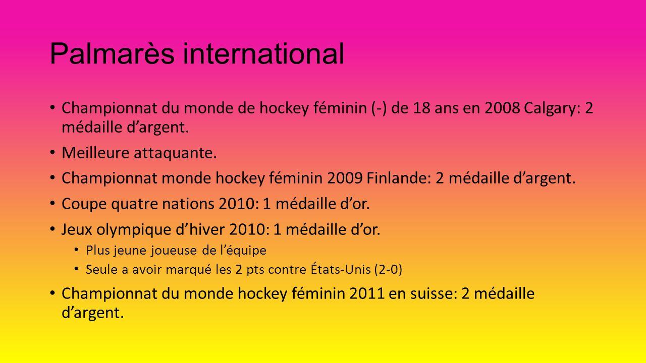 Palmarès international Championnat du monde de hockey féminin (-) de 18 ans en 2008 Calgary: 2 médaille dargent. Meilleure attaquante. Championnat mon