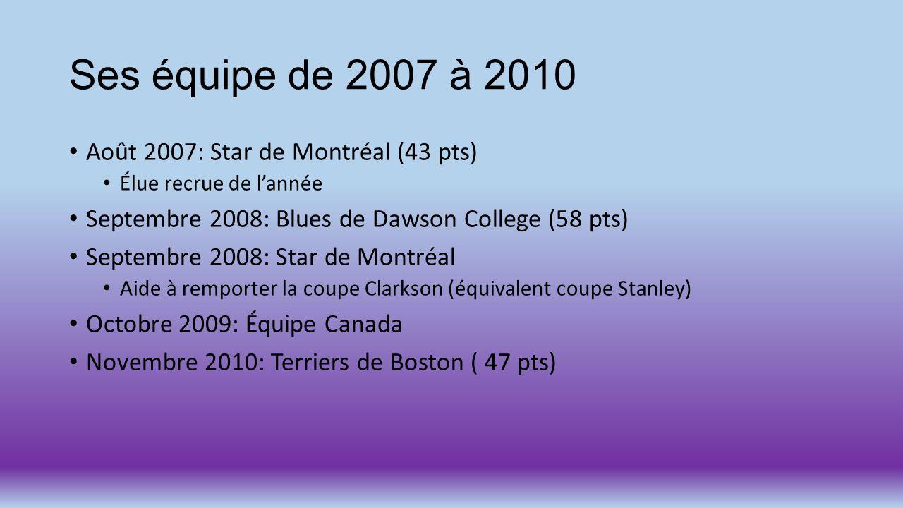 Ses équipe de 2007 à 2010 Août 2007: Star de Montréal (43 pts) Élue recrue de lannée Septembre 2008: Blues de Dawson College (58 pts) Septembre 2008: