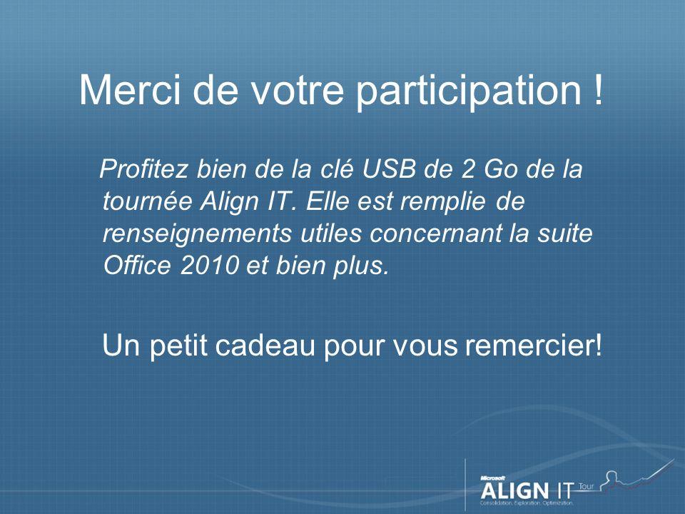 Merci de votre participation . Profitez bien de la clé USB de 2 Go de la tournée Align IT.