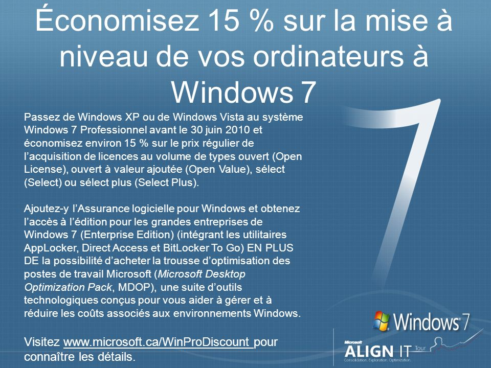 Économisez 15 % sur la mise à niveau de vos ordinateurs à Windows 7 Passez de Windows XP ou de Windows Vista au système Windows 7 Professionnel avant le 30 juin 2010 et économisez environ 15 % sur le prix régulier de lacquisition de licences au volume de types ouvert (Open License), ouvert à valeur ajoutée (Open Value), sélect (Select) ou sélect plus (Select Plus).