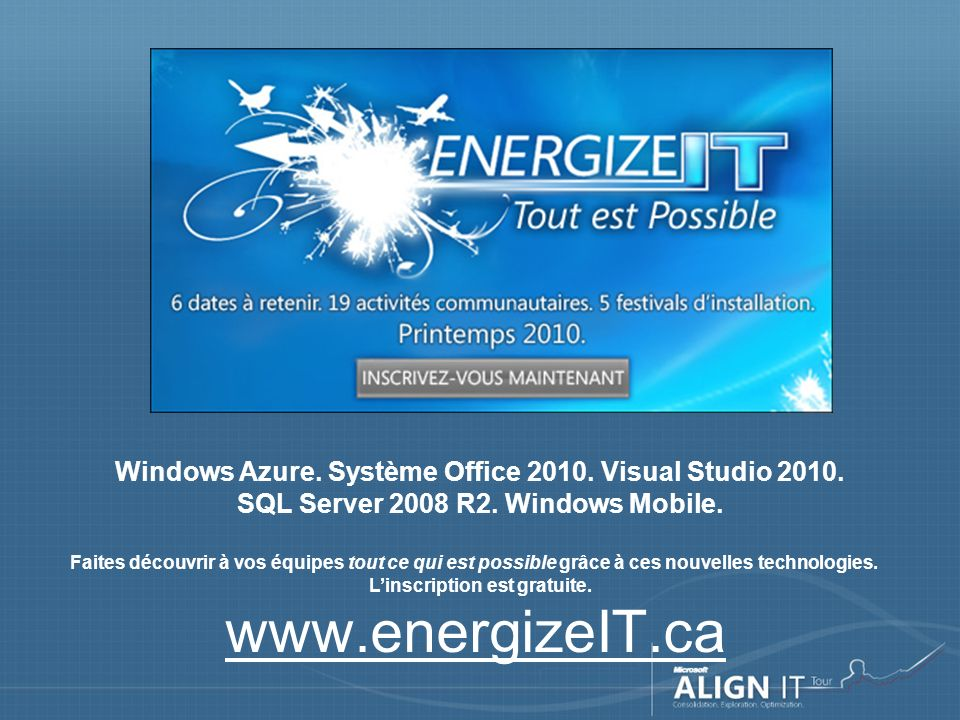 www.energizeIT.ca Windows Azure. Système Office 2010.