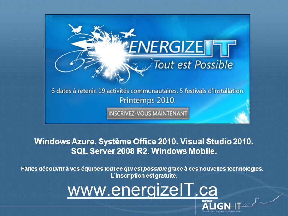 Concours Windows Azure Du 25 janvier au 31 mars, déployez nimporte quelle application sur la plateforme Windows Azure et courez la chance de GAGNER 7 000 $ .