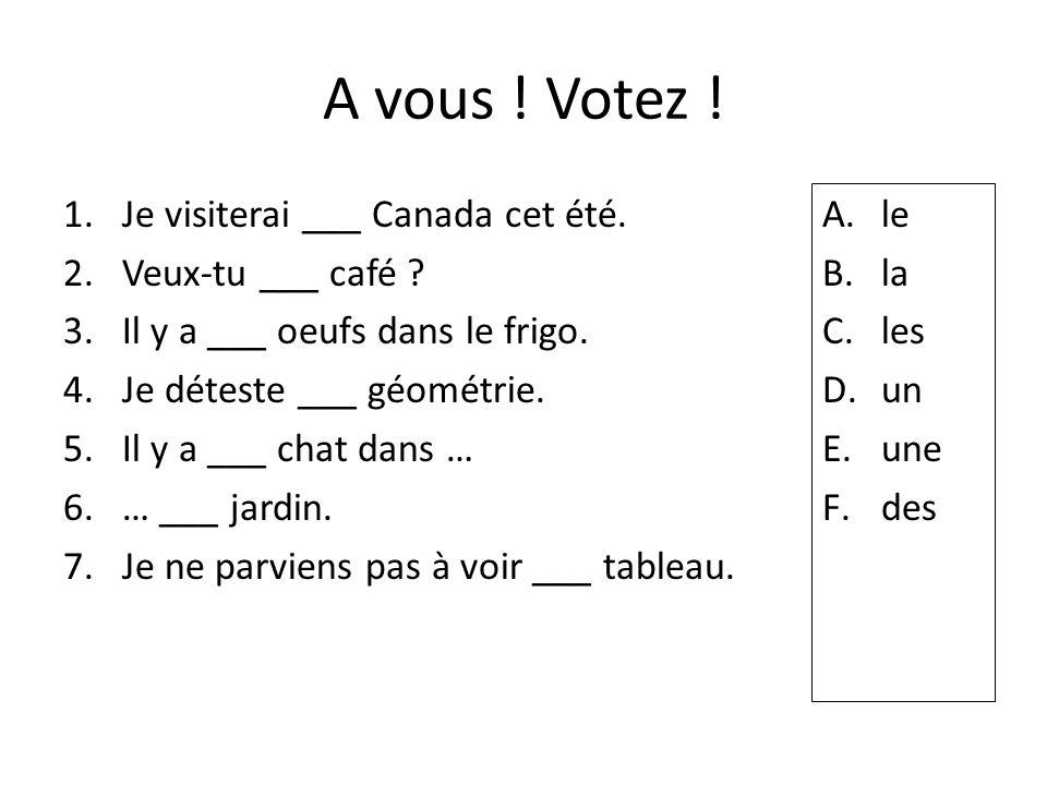 A vous ! Votez ! 1.Je visiterai ___ Canada cet été. 2.Veux-tu ___ café ? 3.Il y a ___ oeufs dans le frigo. 4.Je déteste ___ géométrie. 5.Il y a ___ ch