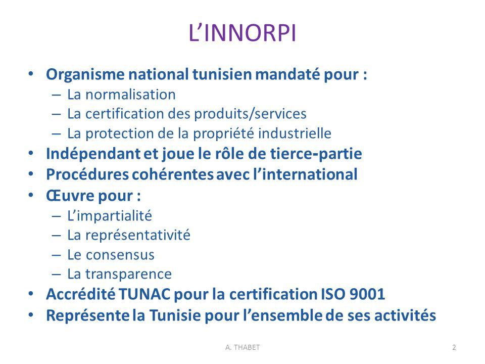 A. THABET LINNORPI Organisme national tunisien mandaté pour : – La normalisation – La certification des produits/services – La protection de la propri