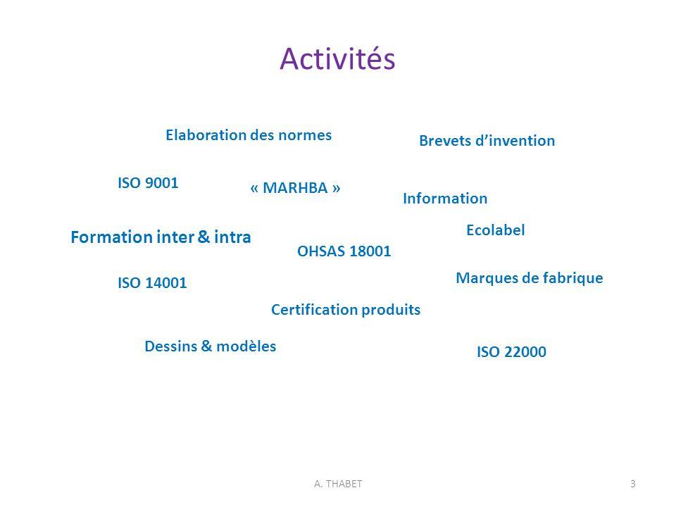 Activités A. THABET3 Information Certification produits Marques de fabrique Brevets dinvention ISO 9001 Dessins & modèles ISO 22000 Formation inter &