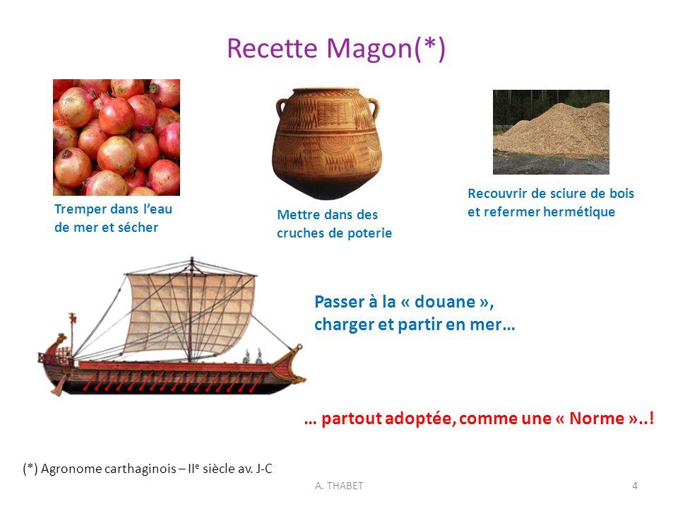 Recette Magon(*) (*) Agronome carthaginois – II e siècle av. J-C A. THABET4 Tremper dans leau de mer et sécher Recouvrir de sciure de bois et refermer