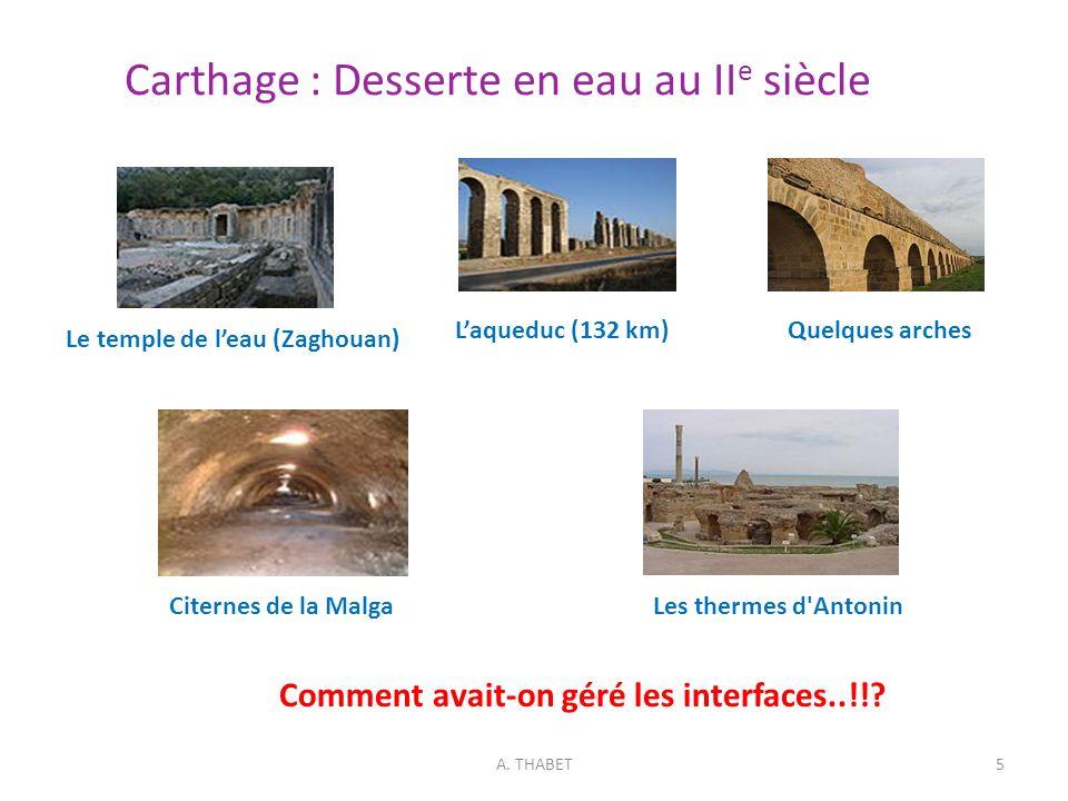 Carthage : Desserte en eau au II e siècle A. THABET5 Le temple de leau (Zaghouan) Laqueduc (132 km)Quelques arches Citernes de la MalgaLes thermes d'A