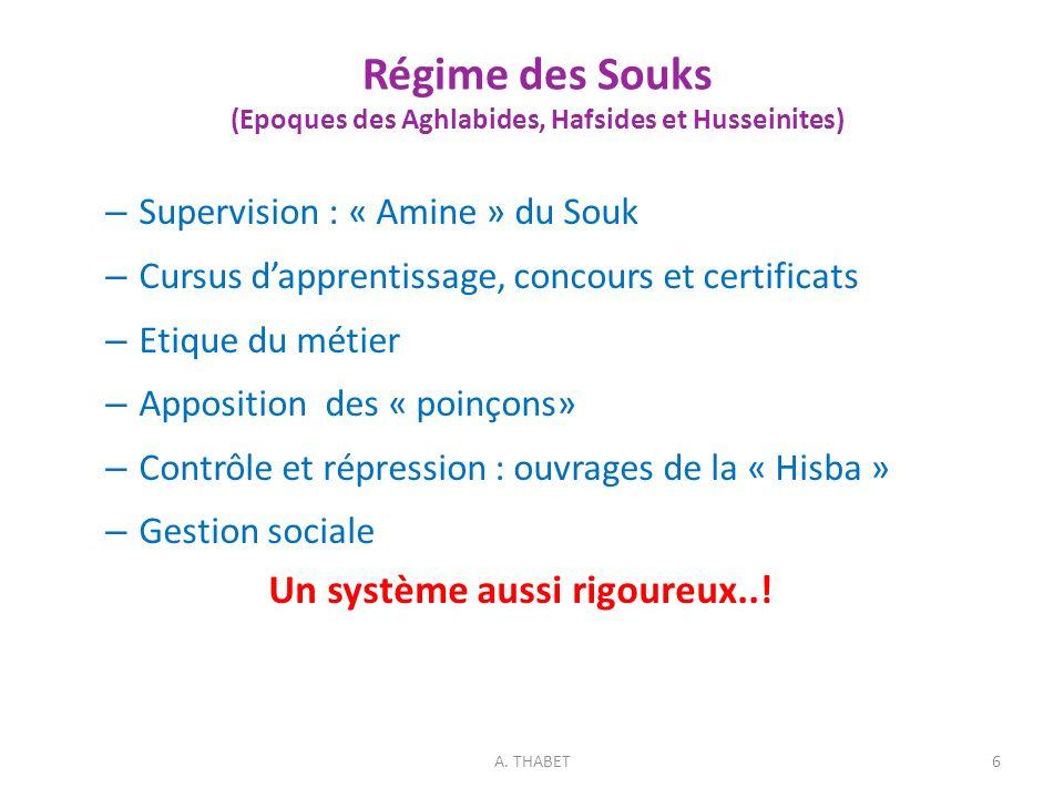 Régime des Souks (Epoques des Aghlabides, Hafsides et Husseinites) – Supervision : « Amine » du Souk – Cursus dapprentissage, concours et certificats