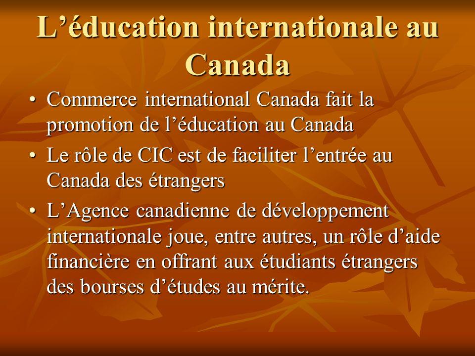 Léducation internationale au Canada Commerce international Canada fait la promotion de léducation au CanadaCommerce international Canada fait la promotion de léducation au Canada Le rôle de CIC est de faciliter lentrée au Canada des étrangersLe rôle de CIC est de faciliter lentrée au Canada des étrangers LAgence canadienne de développement internationale joue, entre autres, un rôle daide financière en offrant aux étudiants étrangers des bourses détudes au mérite.LAgence canadienne de développement internationale joue, entre autres, un rôle daide financière en offrant aux étudiants étrangers des bourses détudes au mérite.
