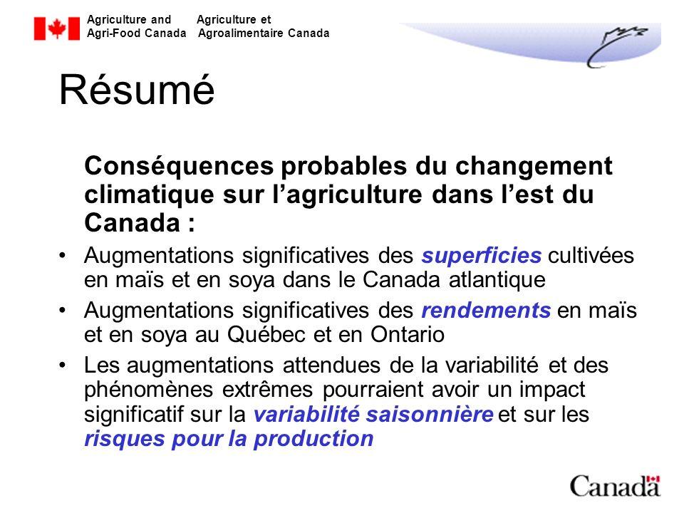 Agriculture and Agriculture et Agri-Food Canada Agroalimentaire Canada Résumé Conséquences probables du changement climatique sur lagriculture dans le
