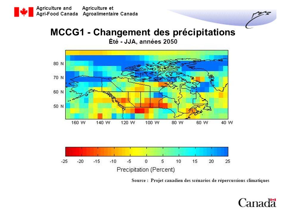Agriculture and Agriculture et Agri-Food Canada Agroalimentaire Canada MCCG1 - Changement des précipitations Été - JJA, années 2050 Source : Projet ca