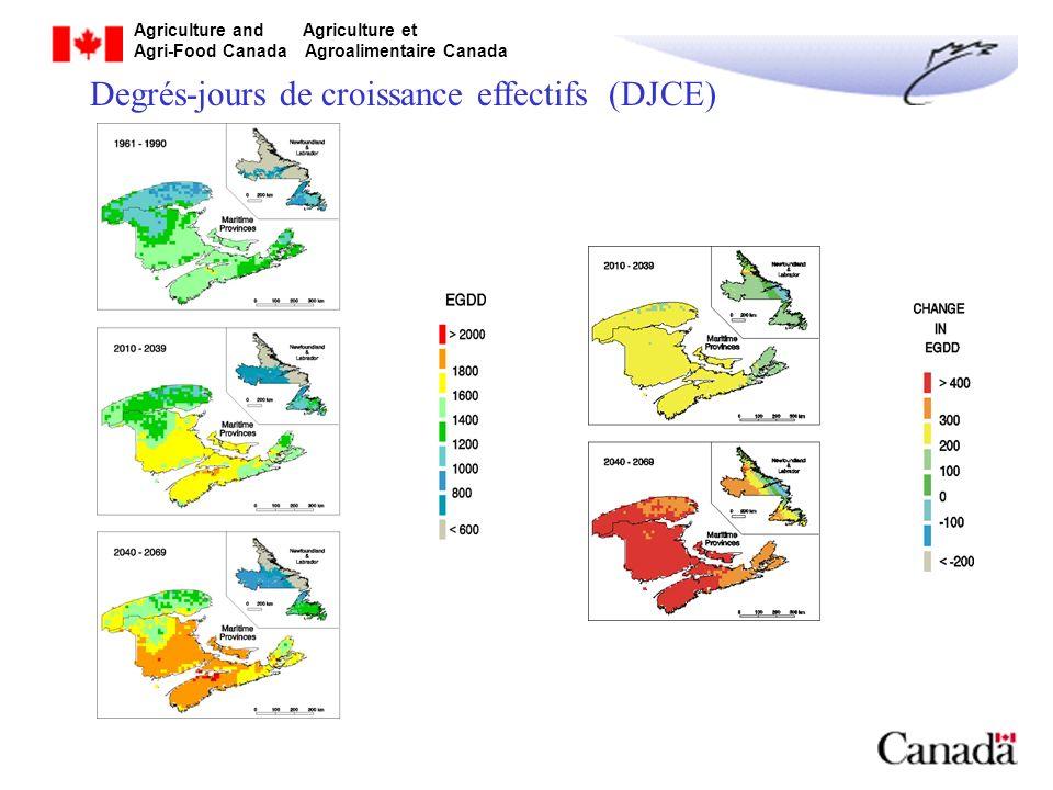 Agriculture and Agriculture et Agri-Food Canada Agroalimentaire Canada Degrés-jours de croissance effectifs (DJCE)