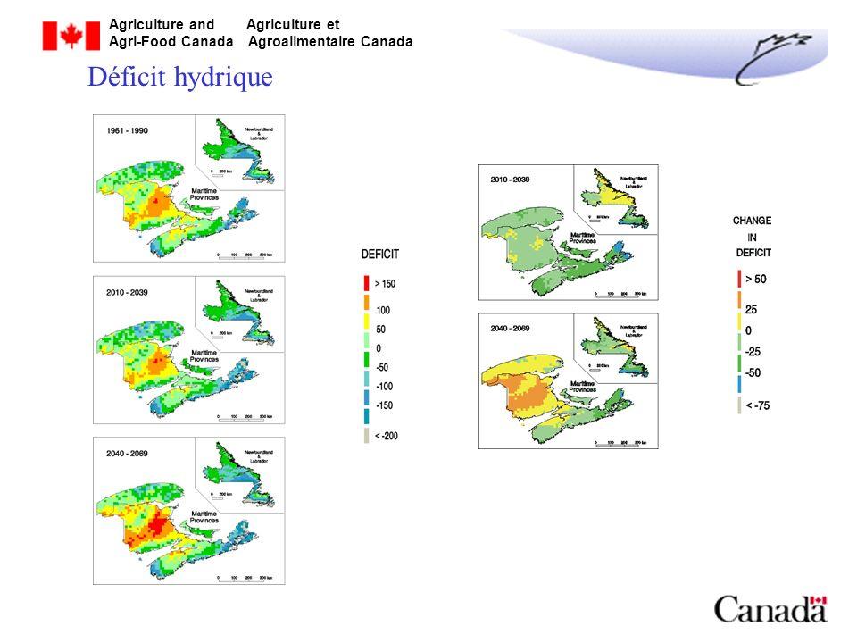 Agriculture and Agriculture et Agri-Food Canada Agroalimentaire Canada Changements potentiels des IAC : Indicateur agroclimatique Augmentation dans un nouveau climat UTM 500-700 unités DJCE ~ 400 unités Déficit hydrique 25-50 mm