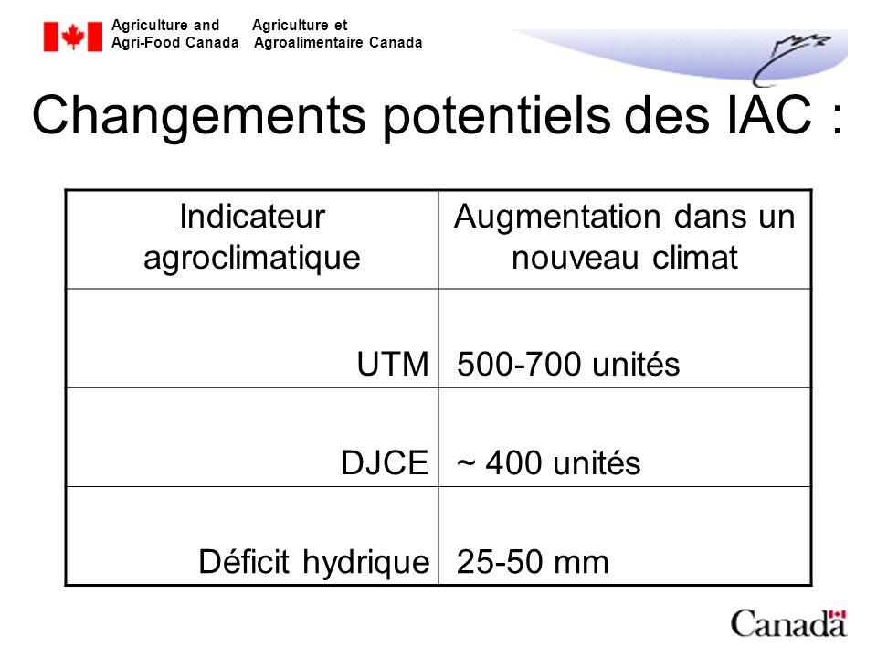 Agriculture and Agriculture et Agri-Food Canada Agroalimentaire Canada Considérations supplémentaires Ces résultats sont basés sur des comparaisons des actuelles normales (moyennes) climatologiques sur 30 ans avec celles dune période future équivalente de 30 ans On sattend à des changements significatifs de la variabilité et des phénomènes extrêmes causés par le changement climatique
