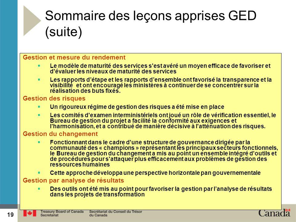 19 2014-05-1919 Gestion et mesure du rendement Le modèle de maturité des services s'est avéré un moyen efficace de favoriser et d'évaluer les niveaux