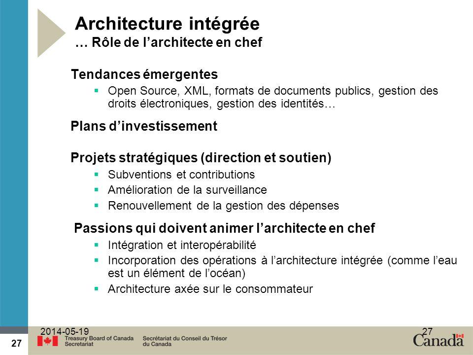 27 2014-05-1927 Architecture intégrée … Rôle de larchitecte en chef Tendances émergentes Open Source, XML, formats de documents publics, gestion des d