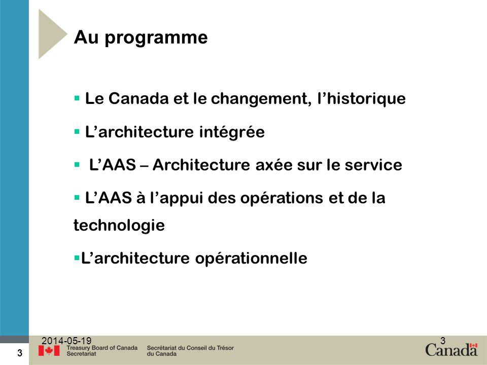 3 2014-05-193 Au programme Le Canada et le changement, lhistorique Larchitecture intégrée LAAS – Architecture axée sur le service LAAS à lappui des opérations et de la technologie Larchitecture opérationnelle