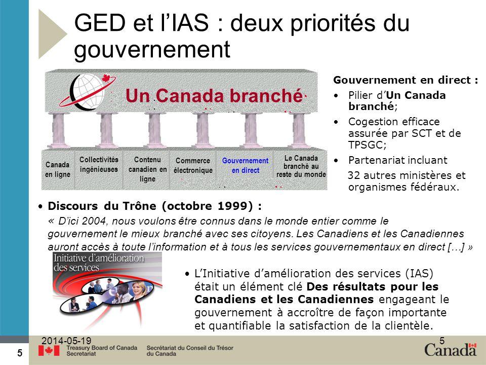 5 2014-05-195 Gouvernement en direct : Pilier dUn Canada branché; Cogestion efficace assurée par SCT et de TPSGC; Partenariat incluant 32 autres ministères et organismes fédéraux.