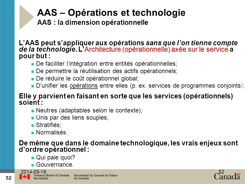 52 2014-05-1952 AAS – Opérations et technologie AAS : la dimension opérationnelle Architecture (opérationnelle) axée sur le service LAAS peut sappliquer aux opérations sans que lon tienne compte de la technologie.