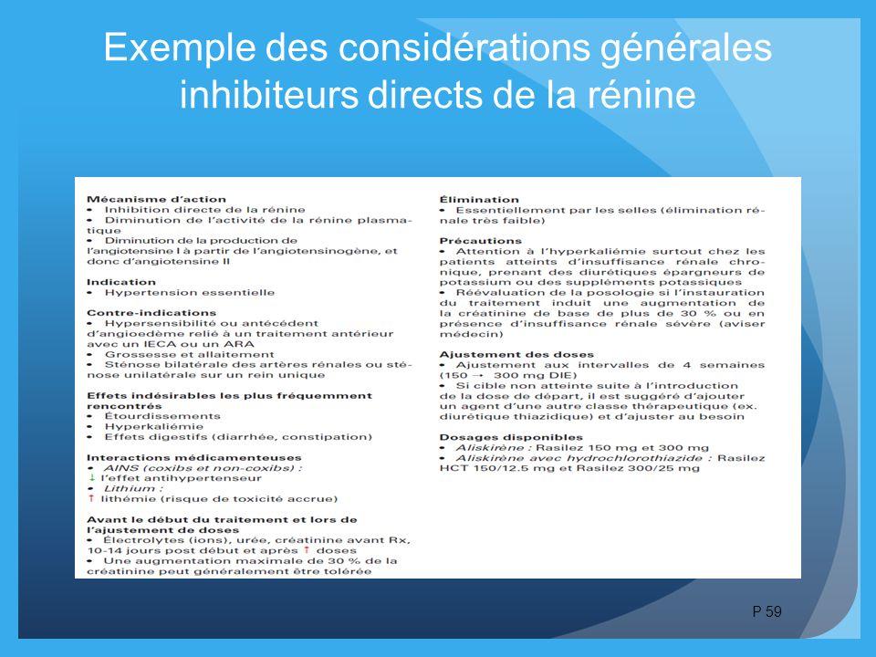 Exemple des considérations générales inhibiteurs directs de la rénine P 59