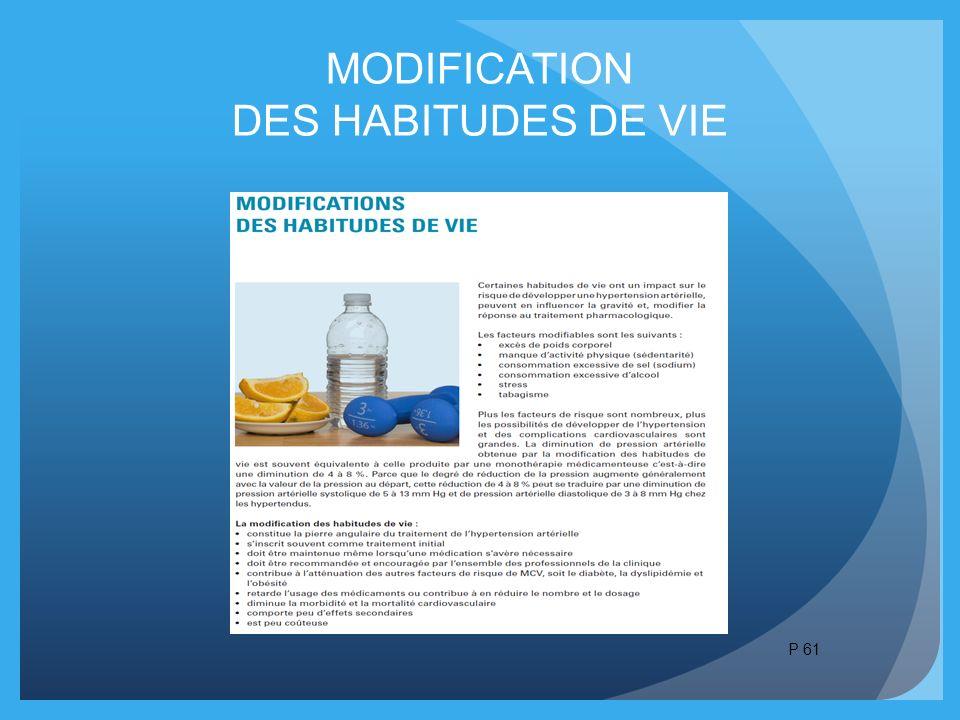 MODIFICATION DES HABITUDES DE VIE P 61