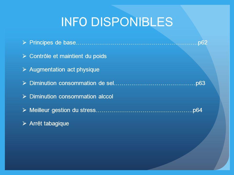 INFO DISPONIBLES Principes de base……………………………………………………...p62 Contrôle et maintient du poids Augmentation act physique Diminution consommation de sel……