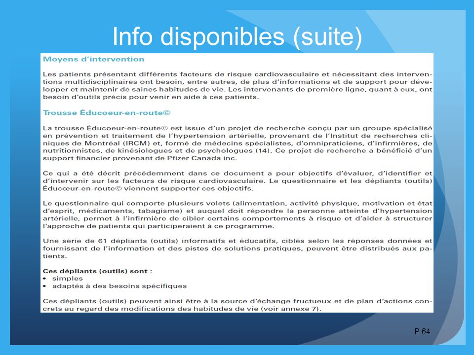 Info disponibles (suite) P 64