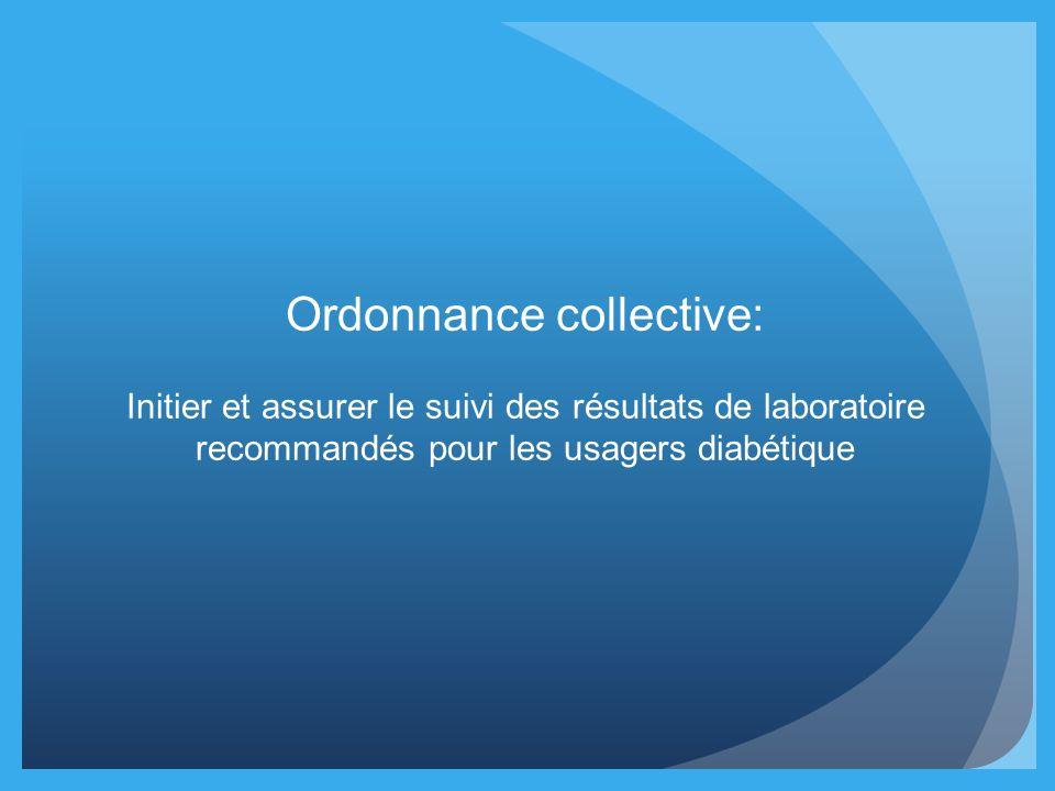 Ordonnance collective: Initier et assurer le suivi des résultats de laboratoire recommandés pour les usagers diabétique
